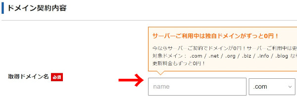 『Xserver』のドメインを入力する(項目)フォーム。