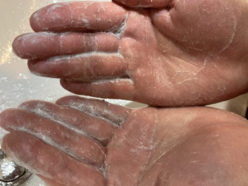 紙石鹸。泡立った。