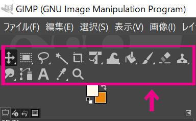 『GIMP』のツールボックス。